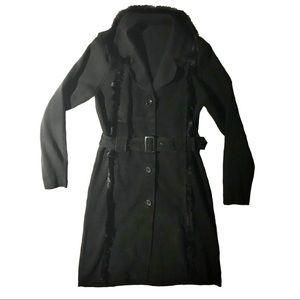 Vintage suede & knit black coat
